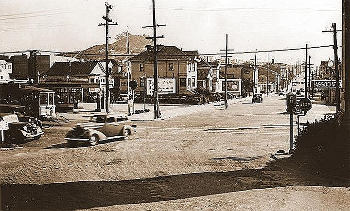 1937 - Attached is a photo of 19th Avenue, looking south towards Lincoln Way. This is prior to 19th Avenue being widened. A street car is visible that once went along Line -7 on Lincoln Way..jpg