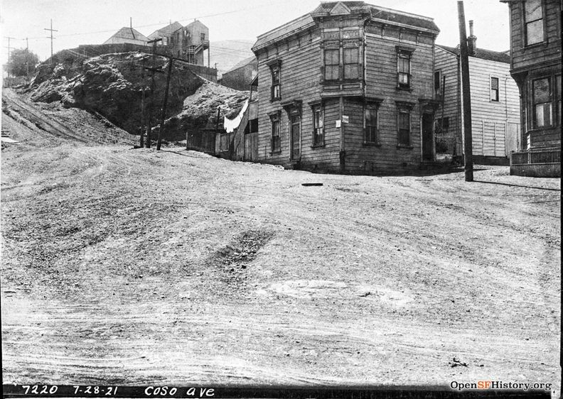 July 28 1921 Intersection of Coso, Lundys Lane, and Montezuma Street before paving dpwbook30 dpw7220 wnp36.02610.jpg